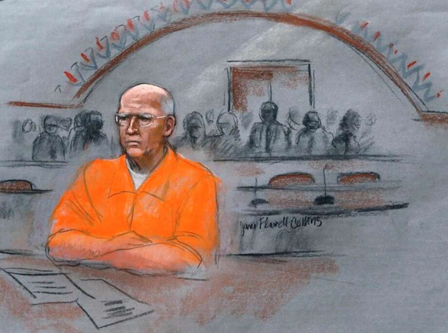 "In this courtroom sketch, James ""Whitey"" Bulger sits at his sentencing hearing in federal court in Boston, Wednesday, Nov. 13, 2013. Bulger was convicted in August in a broad indictment that included racketeering charges in a string of murders in the 1970s and '80s, as well as extortion, money-laundering and weapons charges. (AP Photo/Jane Flavell Collins) / AP"