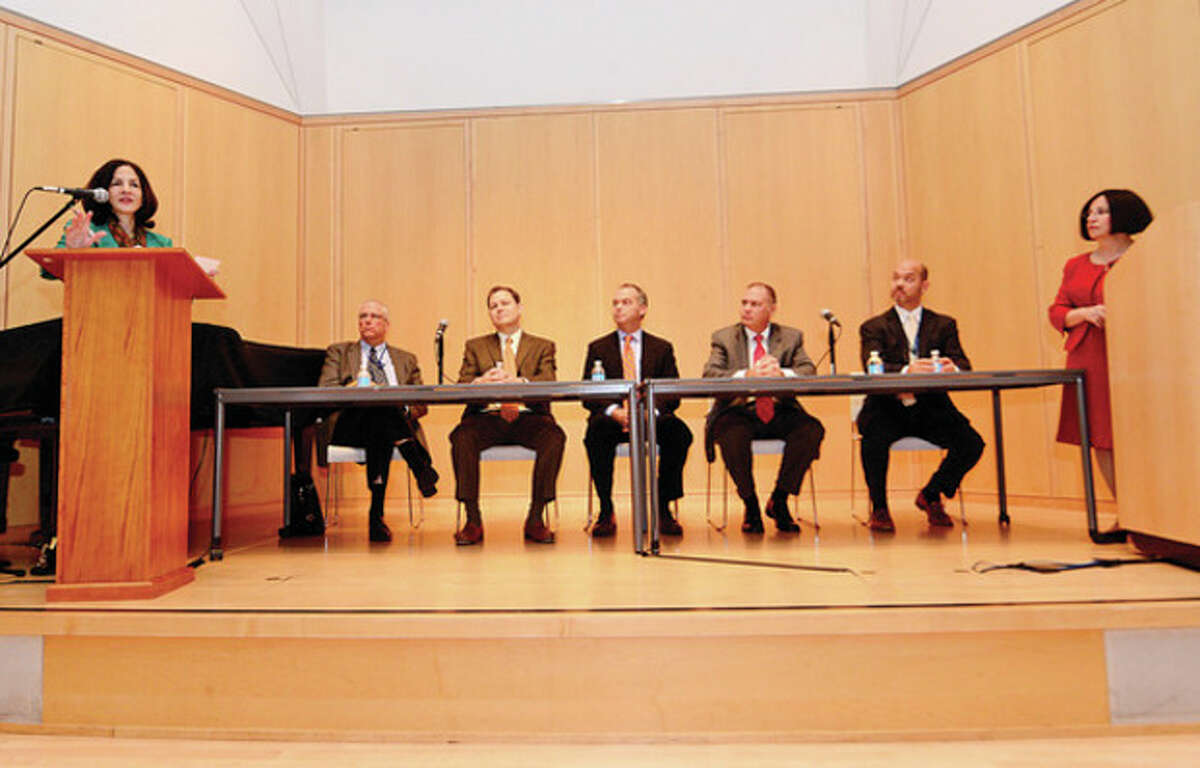 Hour photo / Erik Trautmann State Rep. Gail Lavielle (R-143) and State Sen. Toni Boucher (R-26) host an informational panel discussion with health care experts and business leaders at the Wilton Library. The forum included expert panelists who explained and answered questions about the implementation of the new Healthcare Exchange which took effect on Oct 1.