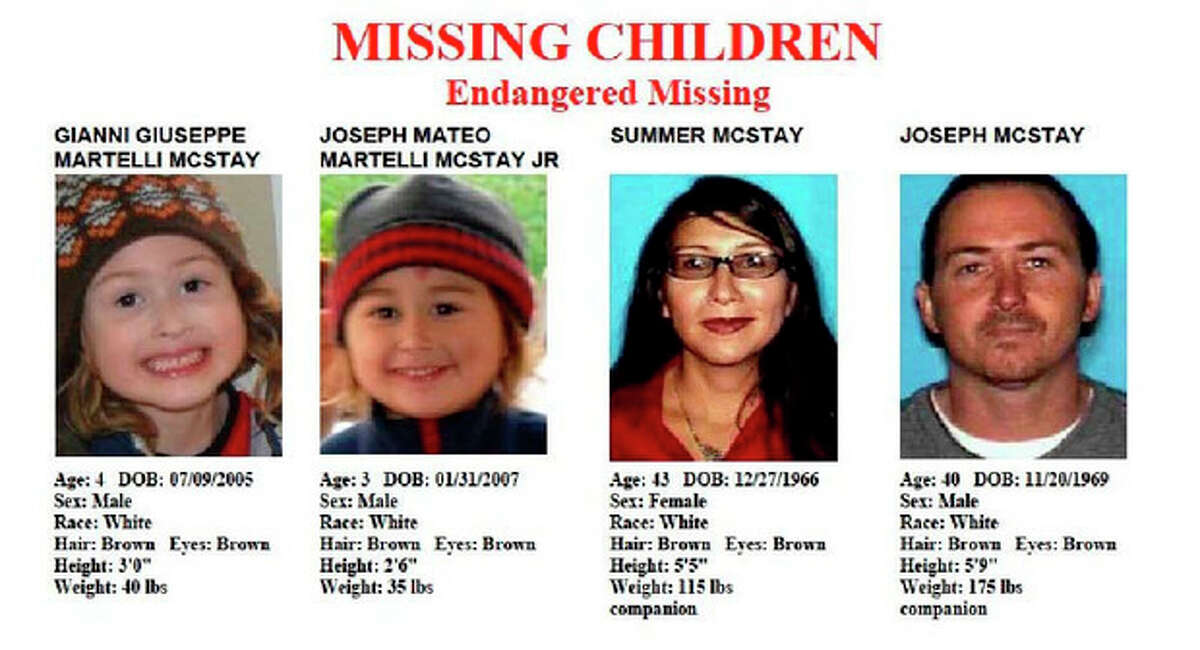 FILE - These file images provided by the San Diego Police Department shows members of the McStay family, who disappeared from their Fallbrook home more than three years ago. Patrick McStay, Joseph McStay's father, told a San Diego-area TV station Friday, Nov. 15, 2013, that he has been informed by investigators from the San Bernardino County Sheriff?'s Department that two of the four bodies discovered in shallow graves near Victorville were Joseph McStay and his wife, Summer McStay. (AP Photo/San Diego Police Department, File)