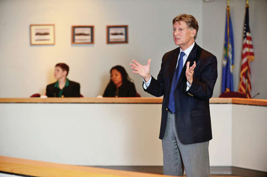 Hour photo / Erik Trautmann Developemnt Director Chris Hulse speaks during the Greater Norwalk Opening Doors homeless advocacy alliance Registry Week Community Brief Back at City Hall Friday morning. / (C)2013, The Hour Newspapers, all rights reserved