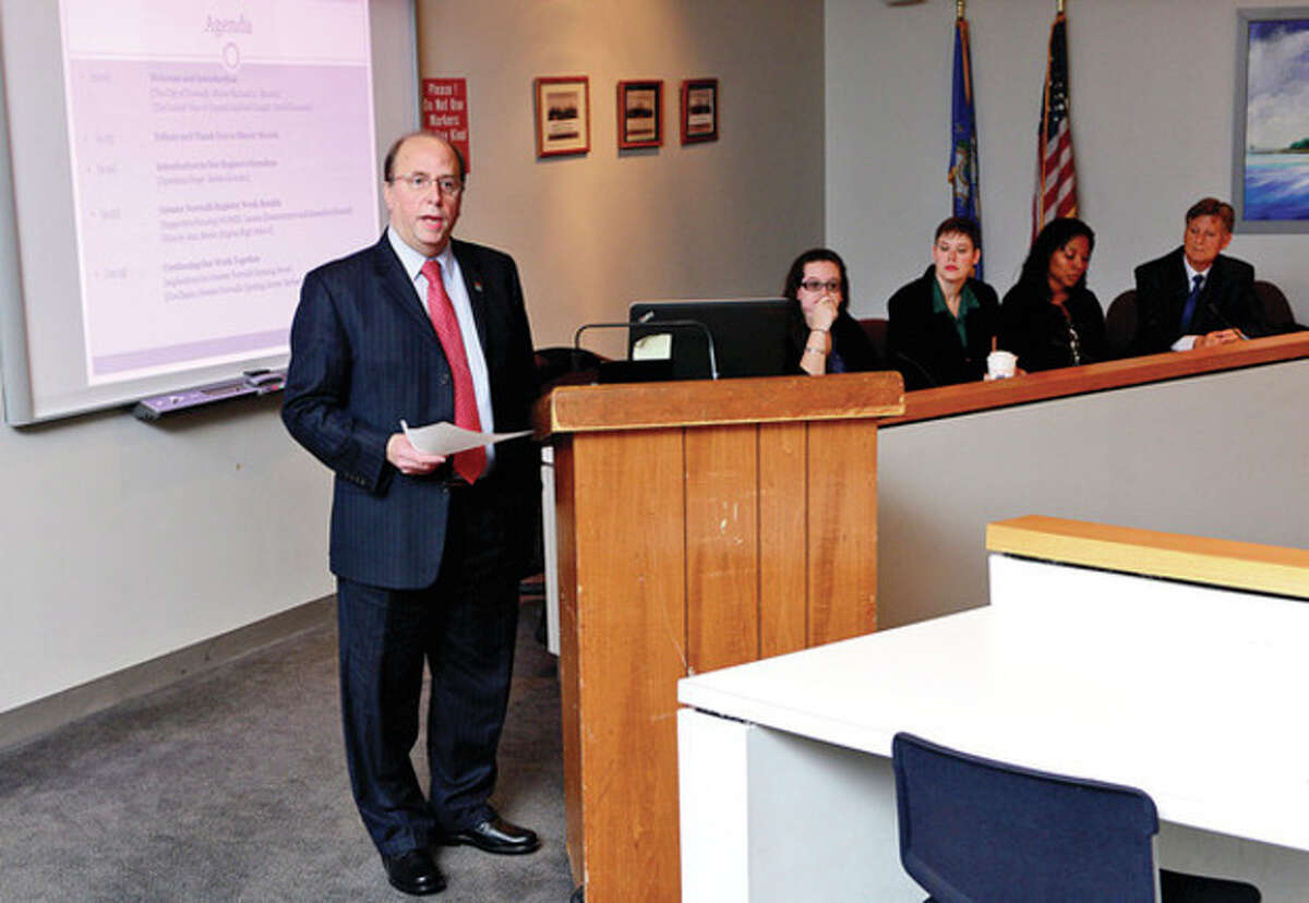 Hour photo / Erik Trautmann United Way of Coastal Fairfied County president David Kennedy speaks during the Greater Norwalk Opening Door homeless advocacy alliance Registry Week Community Brief Back at City Hall Friday morning.