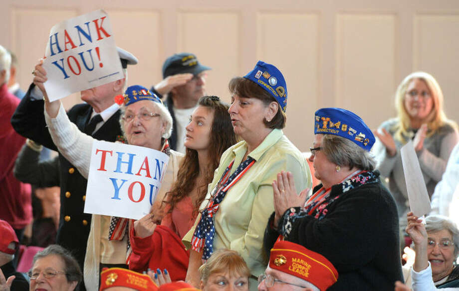 Hour Photo/Alex von Kleydorff . Veterans Day ceremony at City Hall in Norwalk