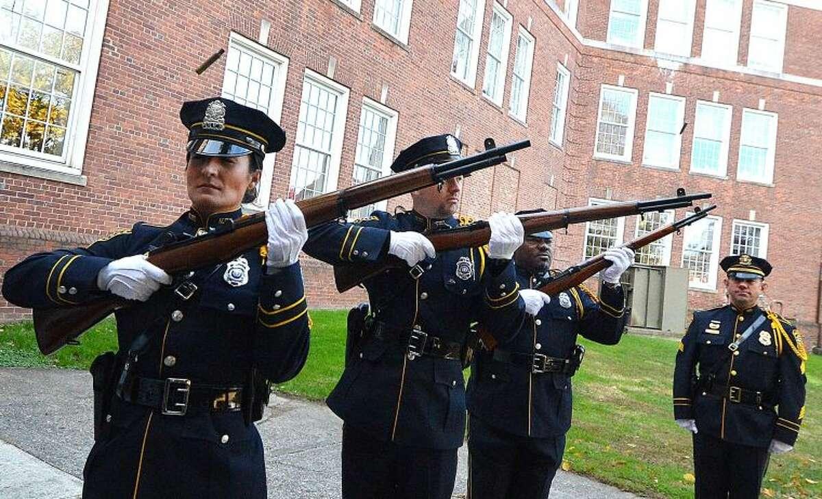 Hour Photo/Alex von Kleydorff Rifle Volley by Norwalk Police Department's Honor Guard