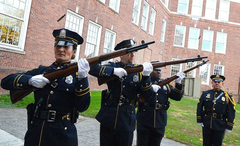 Hour Photo/Alex von Kleydorff Rifle Volley by Norwalk Police Department's Honor Guard