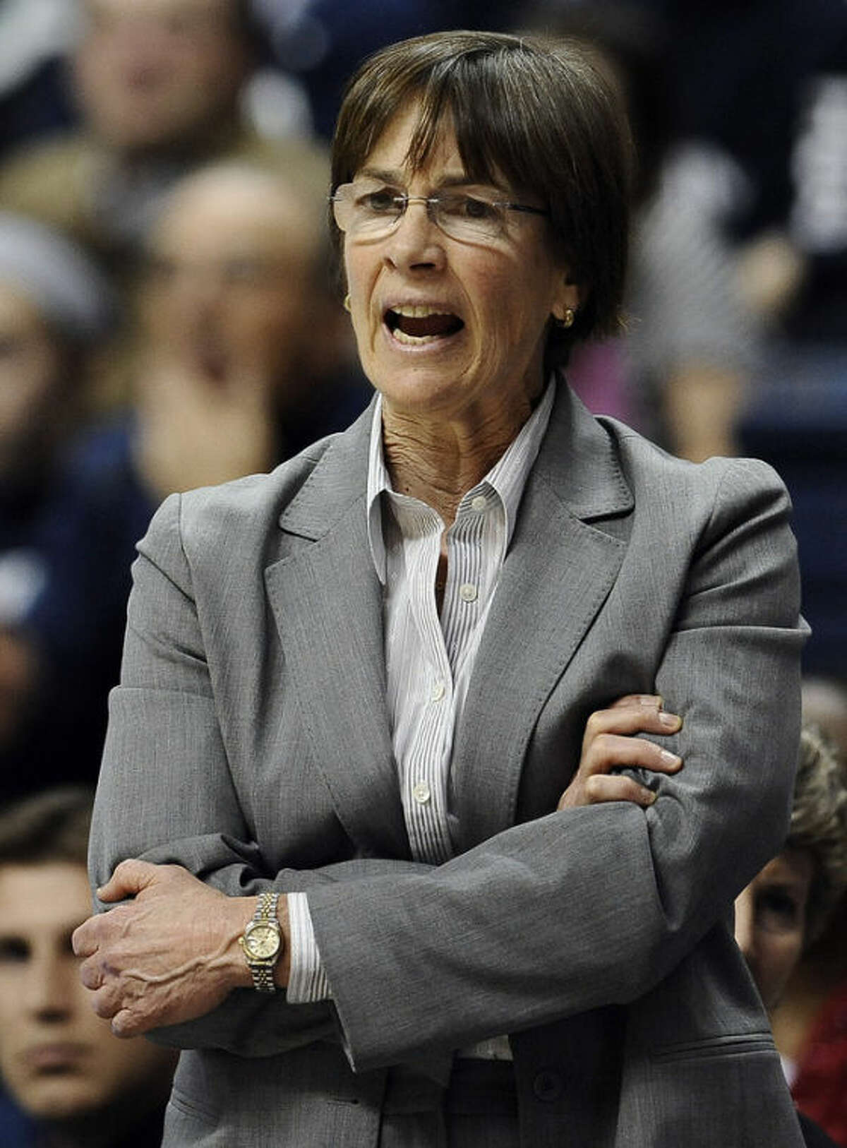 Stanford head coach Tara VanDerveer calls out to her team during the first half of an NCAA college basketball game against Connecticut, Monday, Nov. 11, 2013, in Storrs, Conn. (AP Photo/Jessica Hill)