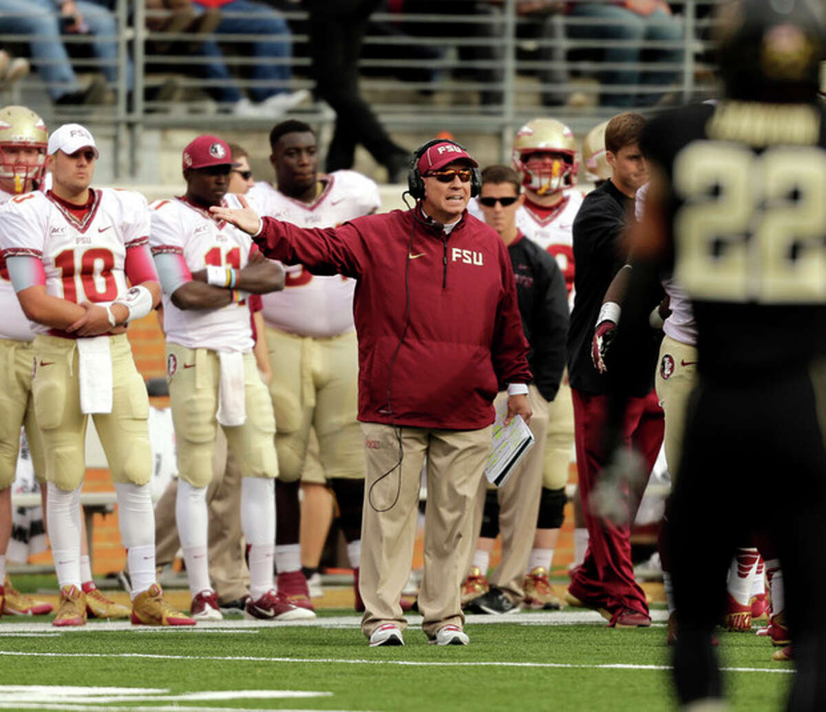 Florida State head coach Jimbo Fisher argues a call as his team plays Wake Forest in the second half of an NCAA college football game in Winston-Salem, N.C., Saturday, Nov. 9, 2013. Florida State won 59-3. (AP Photo/Nell Redmond)