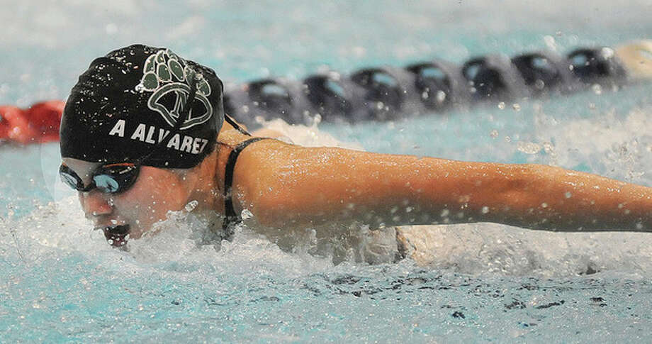 Hour photo/John NashAlexis Alvarez of Norwalk-McMahon competes in the 200 IM during Tuesday's Class LL state championship meet.