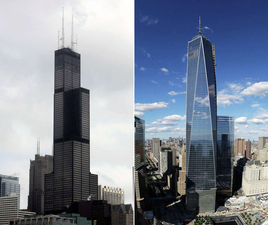 FILE - This combination made from file photos shows Willis Tower, formerly known as the Sears Tower, in Chicago on March 12, 2008, left, and 1 World Trade Center in New York on Sept. 5, 2013. The new World Trade Center tower in New York knocked Chicago's Willis Tower off its pedestal as the nation's tallest building when an international panel of architects announced Tuesday, Nov. 12, 2013, that the needle atop the skyscraper can be counted when measuring the structure's height. (AP Photos/File) / AP