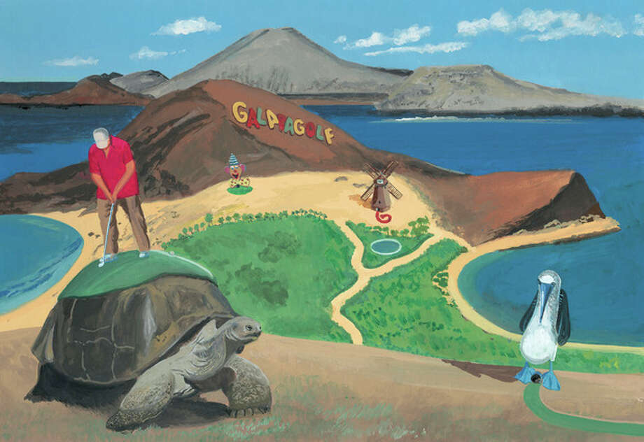 "This image released by Blue Rider Press shows an illustration from the book, ""This Land Was Made for You and Me (But Mostly Me): Billionaires in the Wild,"" by Bruce McCall and David Letterman. McCall, 78, depicts a wonderland of gracious living that is extravagantly large. (AP Photo/Blue Rider Press) / Blue Rider Press"