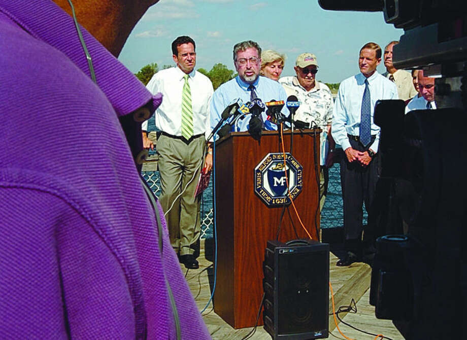 Norwalk mayor Alex Knopp speaks at a press conference in Milford with other local leaders and lawmakers in 2005 to denounce the Broadwater fuel station proposal for Long Island Sound. Hour photo / Erik Trautmann