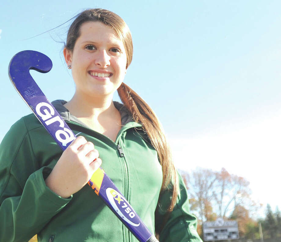 Hour photo/John Nash - Norwalk High School field hockey player Shannon O'Malley has verbally commited to play goaltender at Southern Connecticut State University in the fall.