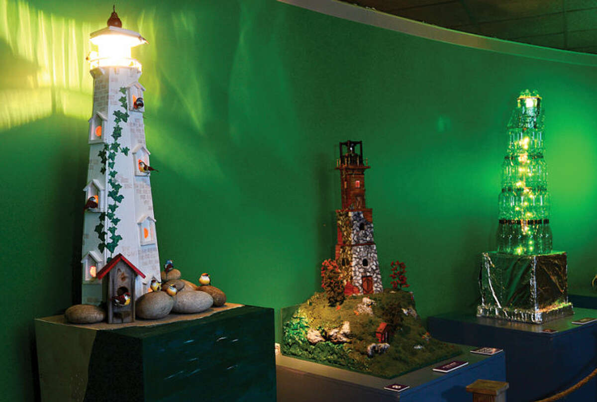 Hour photo / Erik Trautmann Entries by Norwalk residents in the Maritime Aquarium's 12th annual Festival of Lighthouses Contest which awards an aquarium family membership for each displayed lighthouse and $3,300 in prizes.