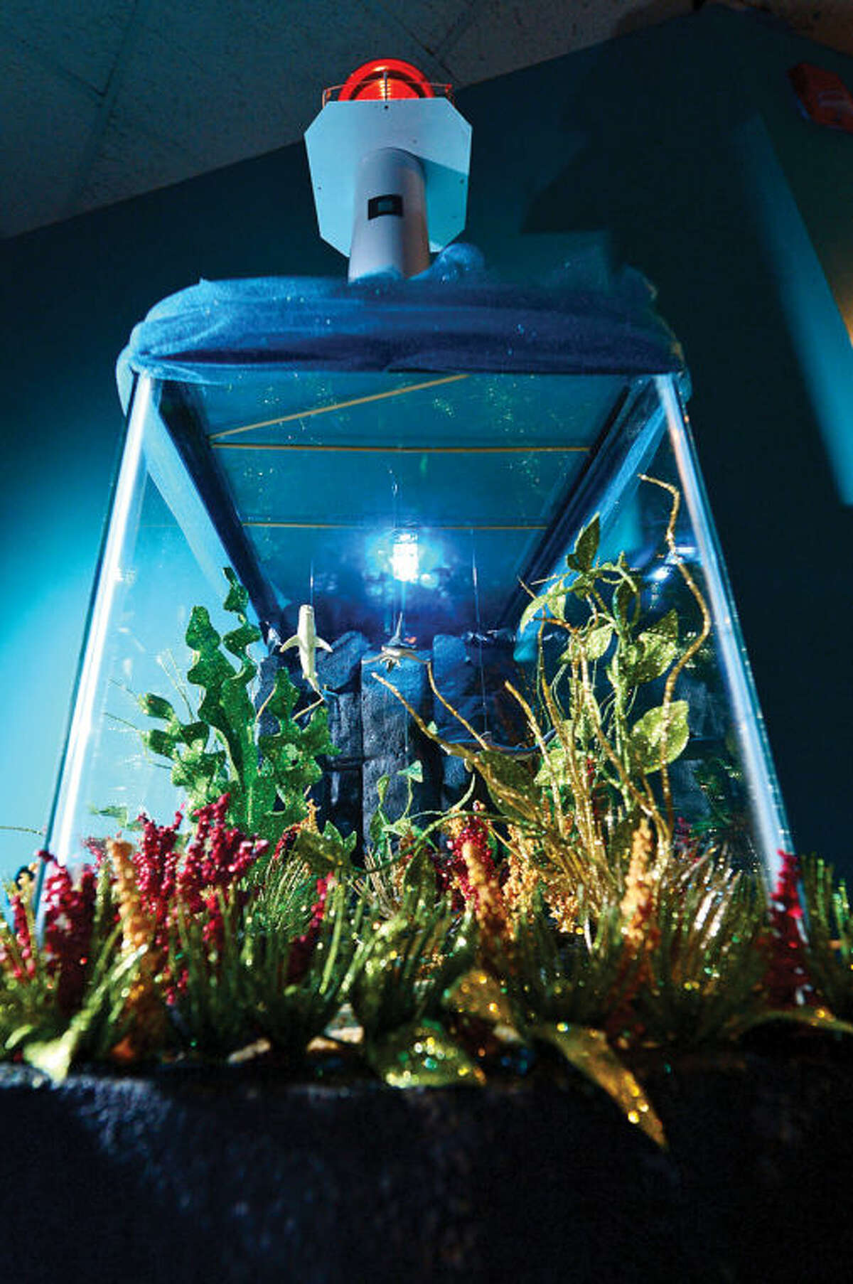 Hour photo / Erik Trautmann The entry, Shark Way by Norwalk resident Suzanne and Jeff Bosco, in the Maritime Aquarium's 12th annual Festival of Lighthouses Contest which awards an aquarium family membership for each displayed lighthouse and $3,300 in prizes.