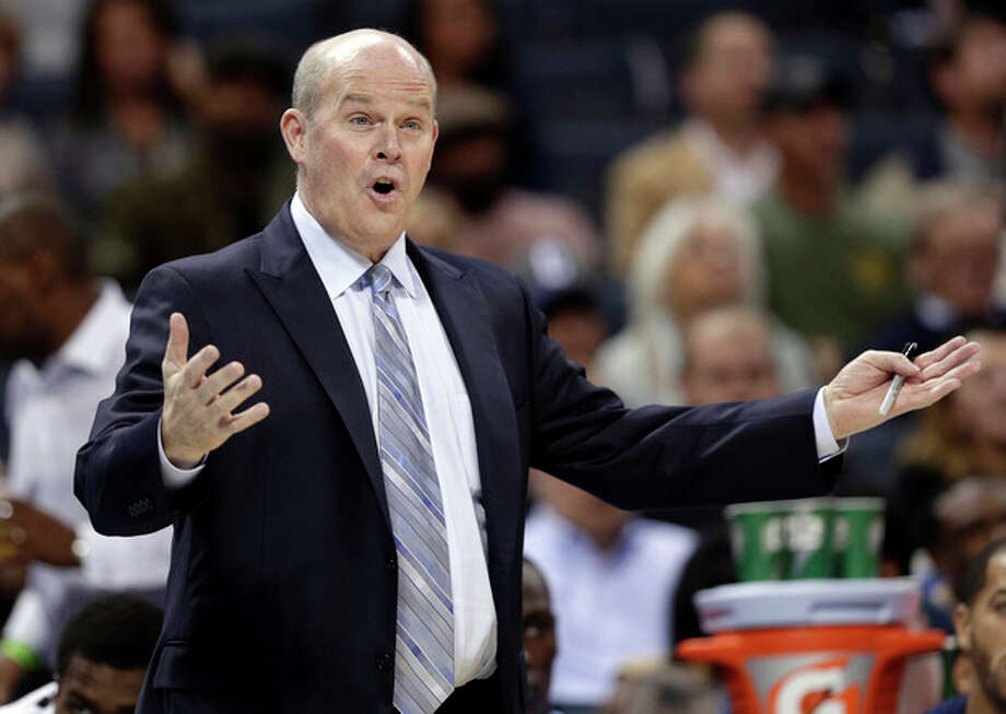 Charlotte Bobcats head coach Steve Clifford argues a call during the first half of an NBA basketball game against the Brooklyn Nets in Charlotte, N.C., Wednesday, Nov. 20, 2013. (AP Photo/Chuck Burton) / AP