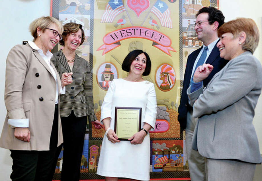 Hour photo / Erik TrautmannAt right, State Sen. Toni Boucher receives the Friend of the Gifted award from Connecticut Association of the Gifted past presidents, Bianca Kortlan-Cox, Katie Augustyn, co-president John Pellino and Executive Dircetor Beverly Katz at Westport?Town Hall on Thursday. / (C)2013, The Hour Newspapers, all rights reserved