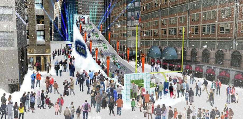 """In this undated artist's rendering provided by the National Football League, a proposed toboggan slide is set up in New York. Instead of shrinking from the possibility that football's ultimate championship could be played in a blizzard, organizers of the first outdoor, cold-climate Super Bowl have decided to embrace the snow as the game's unofficial theme. To drive home the wintry theme, a 60-foot high toboggan run will be set up on """"Super Bowl Boulevard,"""" a 14-block outdoor celebration of all things football-related. (AP Photo/National Football League) / National Football League"""