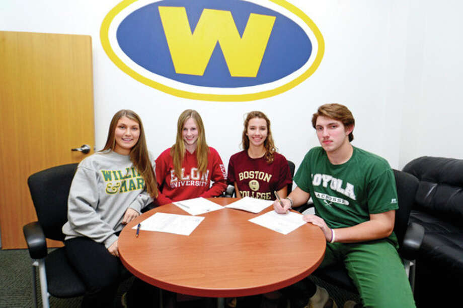 Hour photo/Erik TrautmannWeston athletes, from left,Lindsay Koch, Stephanie Thomson, Haley Bower and Grant Limone recently made their college choices known and signed their National Letters of Intent. / (C)2013, The Hour Newspapers, all rights reserved