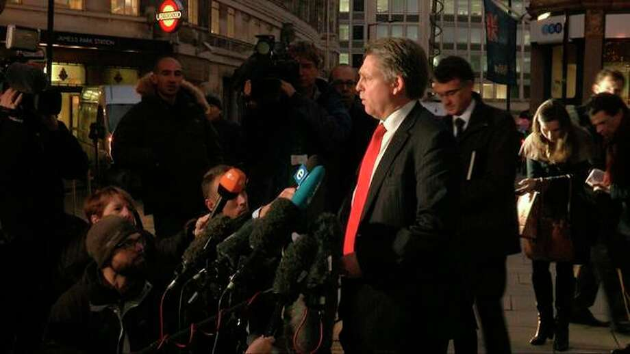 Kevin Hyland, head of the Metropolitan Police's human trafficking unit speaks to the media outside New Scotland Yard's headquarters in London in this image taken from TV Thursday Nov. 21, 2013. London police say three women were held for at least 30 years against their will in a south London home. Metropolitan Police revealed Thursday the women had been rescued and announced the arrests of two people as part of an investigation into slavery and domestic servitude. (AP Photo/ Sky TV, via Associated Press Television) UNITED KINGDOM OUT TV OUT NO ARCHIVE / Sky TV  via Associated Press Television