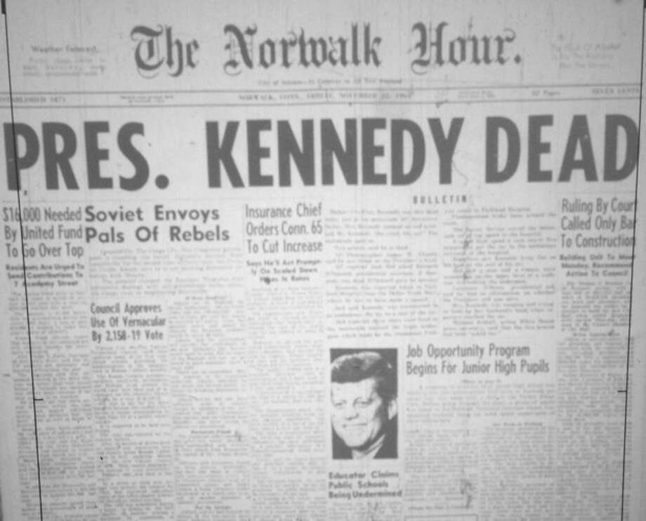 The front page of The Norwalk Hour from Nov. 22, 1963, the day President Kennedy was assassinated.