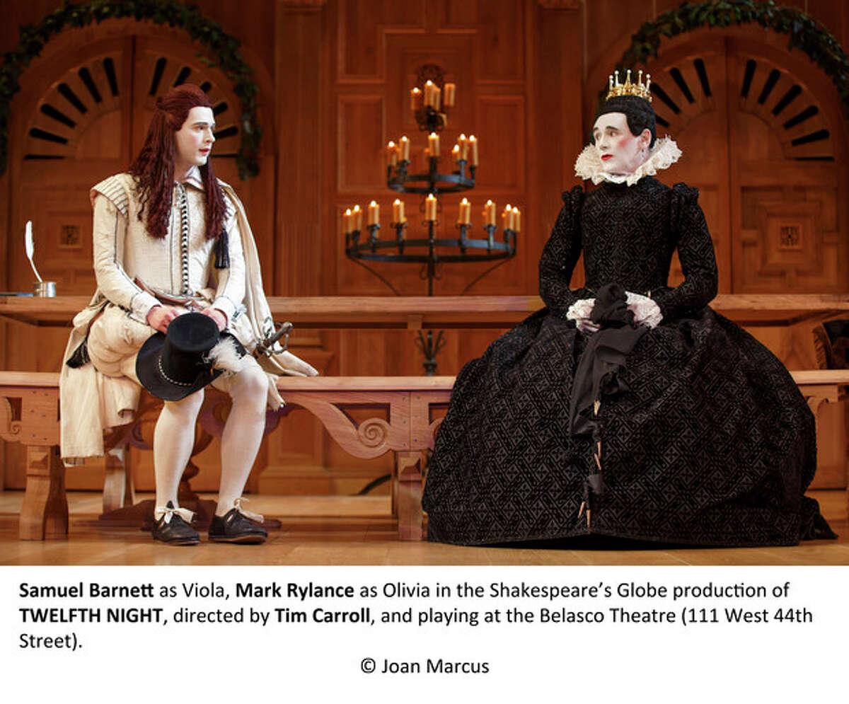 Samuel Barnett as Viola, Mark Rylance as Olivia in the Shakespeare's Globe production of TWELFTH NIGHT, directed by Tim Carroll, and playing at the Belasco Theatre (111 West 44th Street). © Joan Marcus