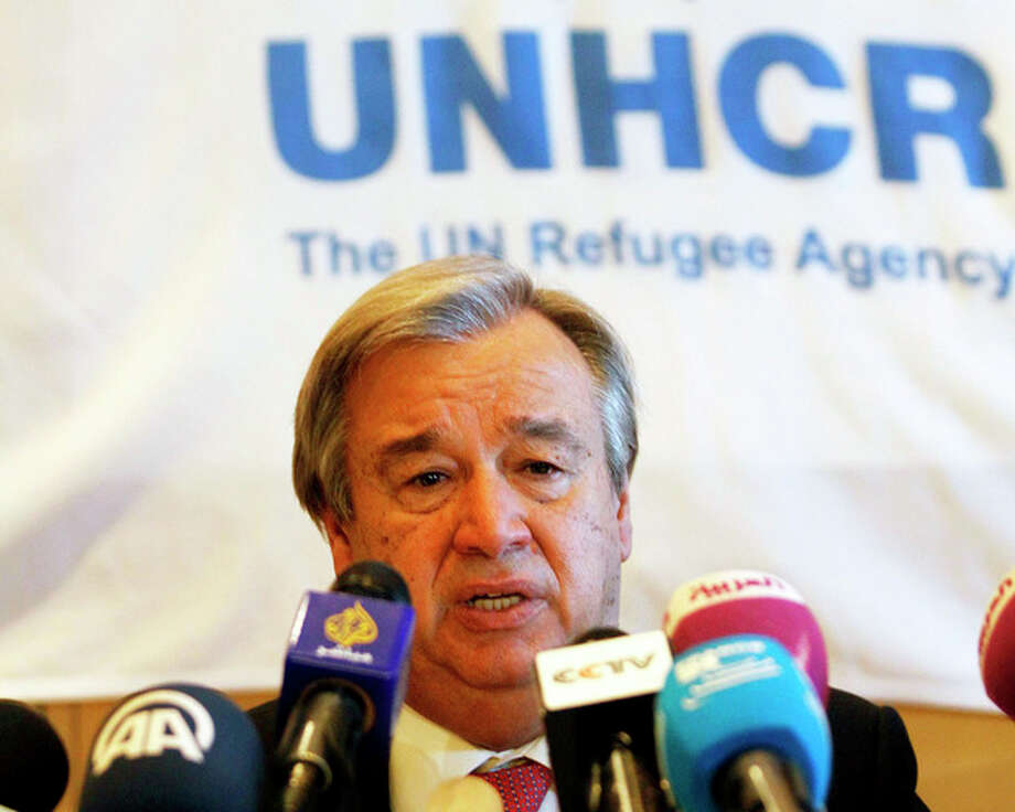 U.N. High Commissioner for Refugees Antonio Guterres speaks at press conference in Amman, Jordan, on Thursday, Nov. 28, 2013. The head of the United Nations refugee agency has called on European and Gulf Arab states to host Syrian refugees who fled the civil war. Guterres says nearly 3 million Syrians have fled to neighboring countries — mainly Jordan, Lebanon and Turkey. He says an additional 6.5 million are displaced in their war-ravaged country.(AP Photo/Raad Adayleh) / AP