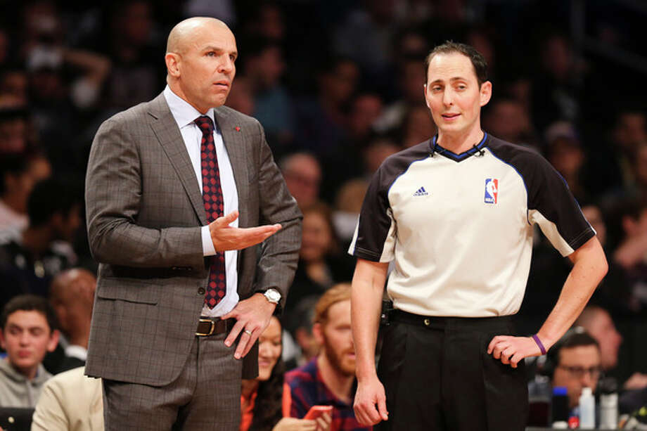 Brooklyn Nets head coach Jason Kidd, left, argues with referee Marat Kogut in the second half of an NBA basketball game against the Los Angeles Lakers at the Barclays Center, Wednesday, Nov. 27, 2013, in New York. The Lakers defeated the Nets 99-94. (AP Photo/John Minchillo) / FR170537 AP