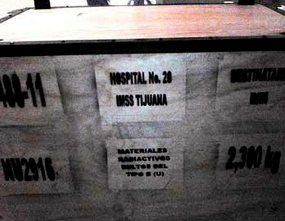 This image released by the National Commission on Nuclear Safety and Safeguards of Mexico's Energy Secretary (CNSNS) Wednesday, Dec. 4, 2013, shows a large box that is part of the cargo of a stolen truck hauling medical equipment with extremely dangerous radioactive material, in Tepojaco, Hidalgo state, north of Mexico City. The cargo truck was stolen from a gas station in central Mexico, and authorities have put out an alert in six central states and the capital to find it, Mexican and U.N. nuclear officials said Wednesday. (AP Photo/CNSNS) / CNSNS