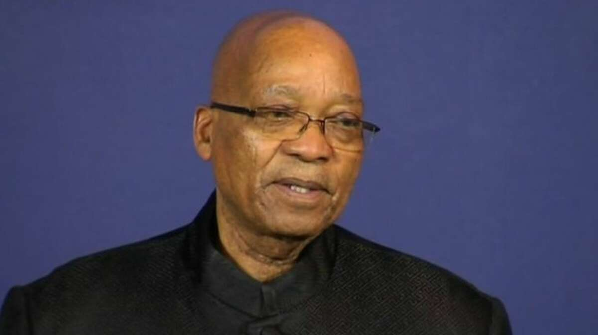 In this image from TV, President of South Africa Jacob Zuma talks to the media Thursday Dec. 5, 2013, from a podium in Pretoria, South Africa. Zuma announced Thursday that former President Nelson Mandela has died. (AP Photo/SABC pool)