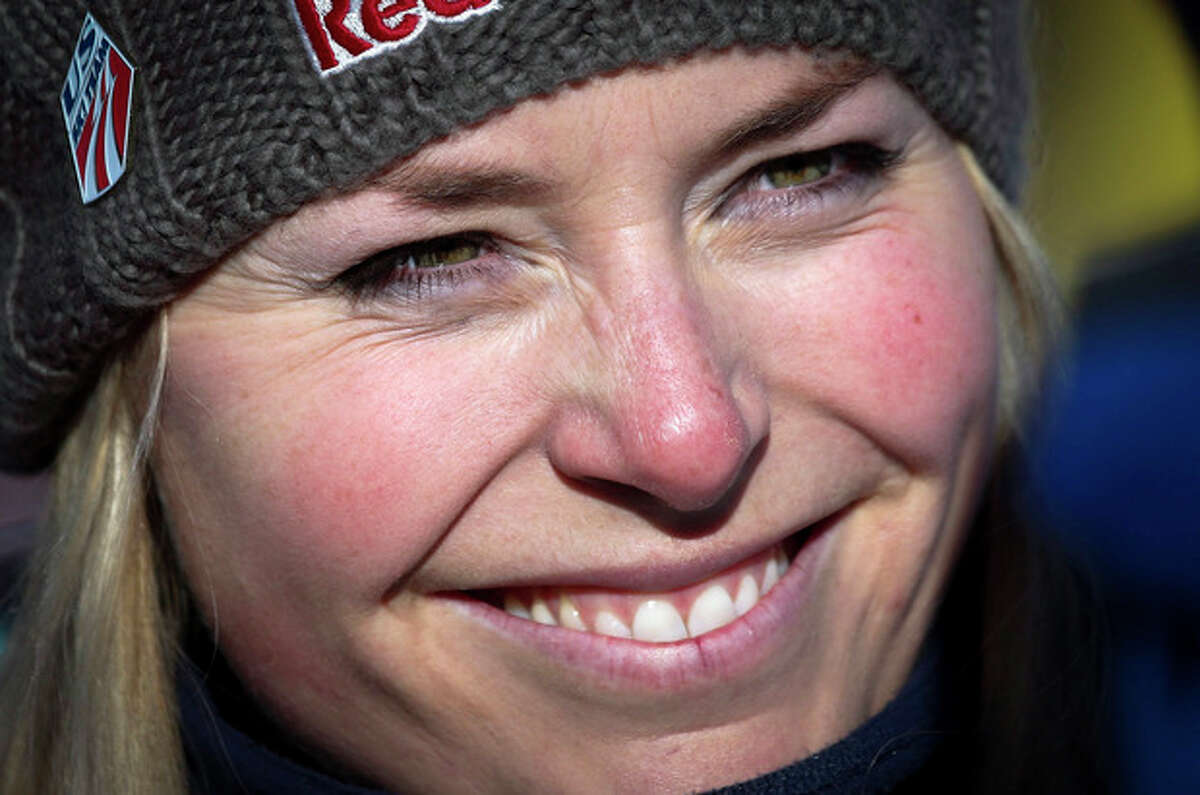 Lindsey Vonn, of the USA, reacts in the finish area following her training run at the women's World Cup downhill ski event in Lake Louise,Alberta, Wednesday, Dec.4, 2013. (AP Photo/The Canadian Press, Jeff McIntosh)