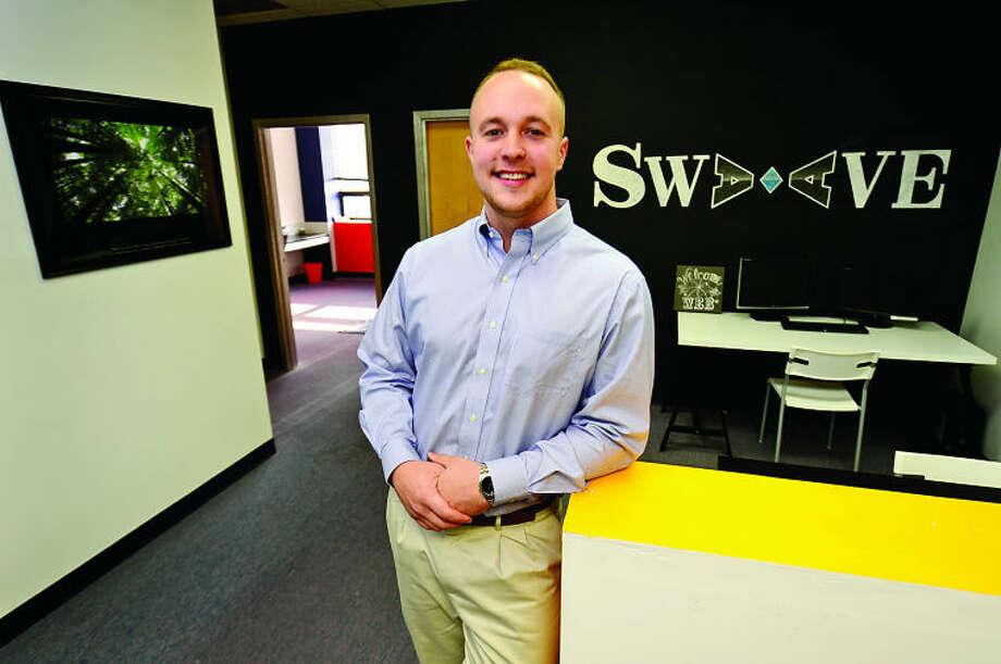 Hour photo / Erik Trautmann Swaave Elements founder Scott Merrittin their new office at 25 Van Zant in Norwalk.