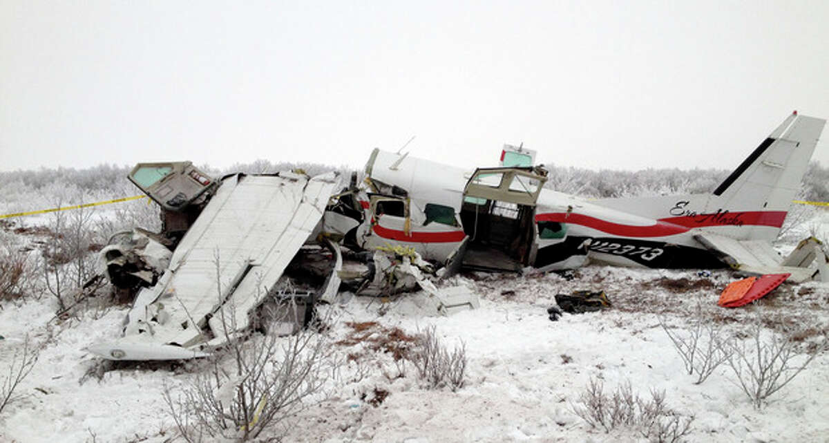 AP Photo/Alaska State Troopers This image provided Saturday Nov. 30 shows the wreckage of a plane that crashed Friday near St. Marys, Alaska. Authorities said the pilot and three passengers died in this crash of the single-engine turboprop Cessna 208.