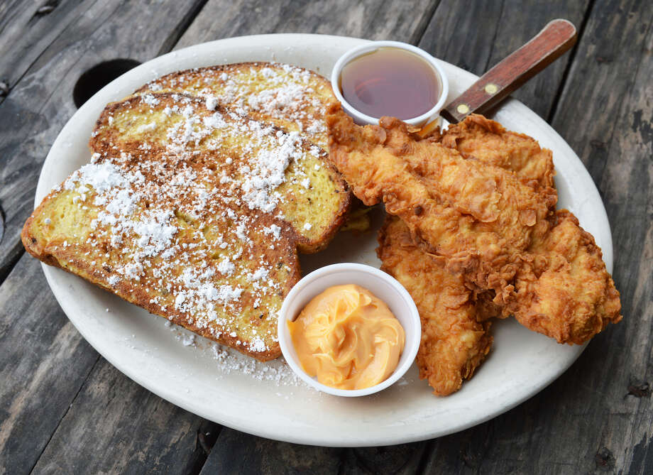 Doc's Bar &ll has launched a new brunch menu. Shown: Doc's Fried Chicken and French Toast. Photo: Doc's Bar & Grill