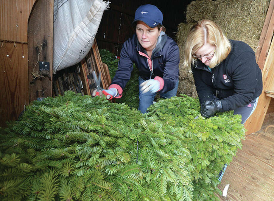 Hour Photo/Alex von Kleydorff. Volunteers Sarah Boatwalla and Beth Culmane organize the different size wreaths in the hay barn for Friends of Ambler Farm;s Annual Holiday Greens Sale this weekend