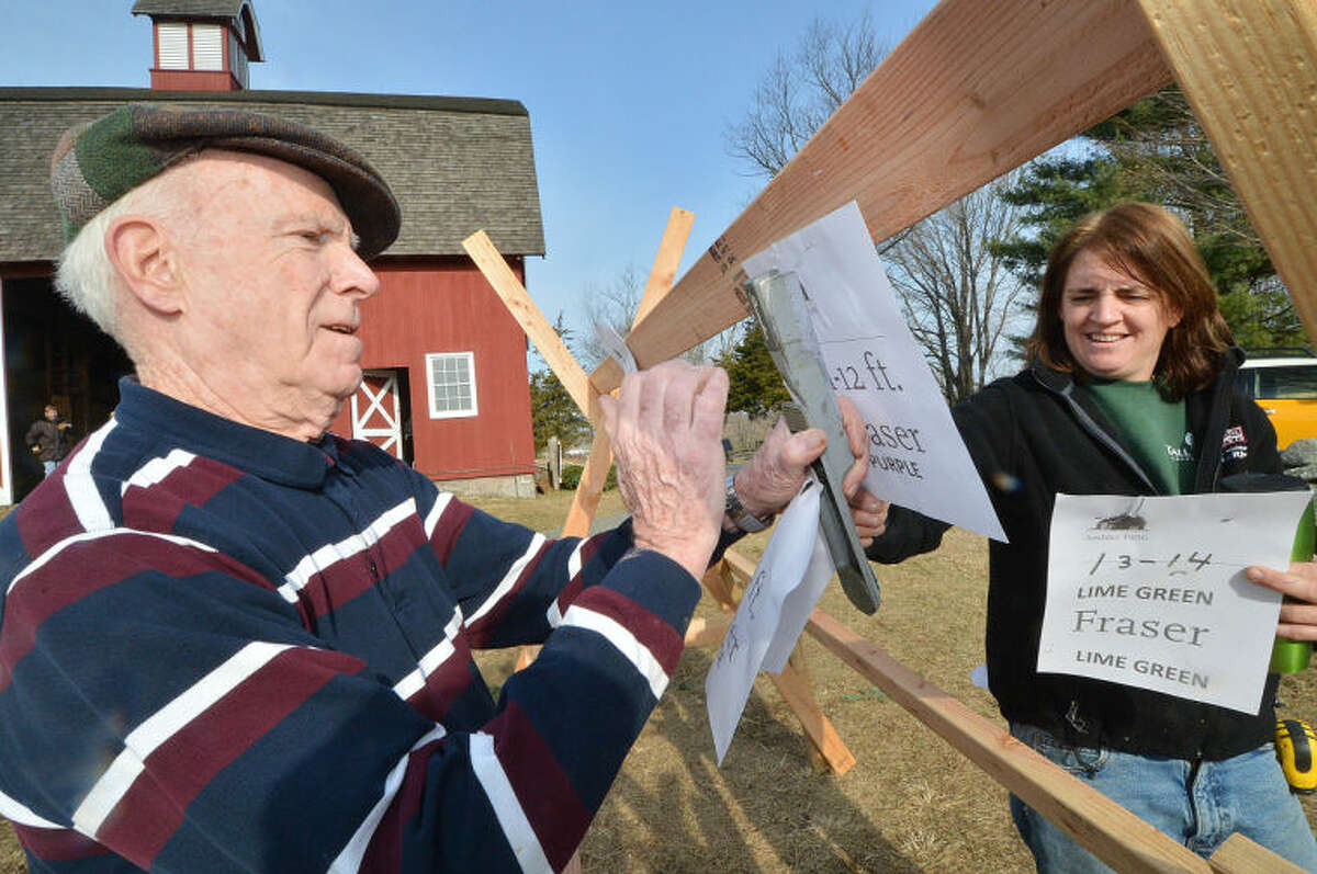 Hour Photo/Alex von Kleydorff . Volunteer Dan Riley and Co Chair Emily Humiston staple signs in order of size for trees arriving for Friends of Ambler Farm's Annual Holiday Greens sale in Wilton