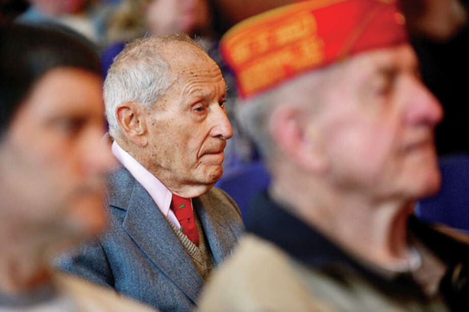 Hour photo / Erik Trautmann World War ll veteran Nick Samodel attends the city's Pearl Harbor Day ceremony in the Community Room at City Hall Saturday. / (C)2013, The Hour Newspapers, all rights reserved