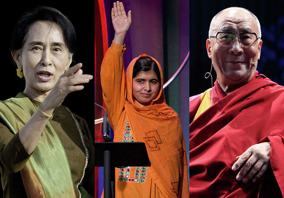 FILE - This combination of 2013 file photos shows, from left, Myanmar opposition leader Aung San Suu Kyi; Malala Yousafzai, the Pakistani teenager shot by the Taliban for promoting education for girls, and Tibet's spiritual leader, the Dalai Lama. The passing of Nelson Mandela leaves a waning number of global figures representing freedom and resilience against oppression - and a changing world that makes it harder for anyone to approach Mandela's iconic power. (AP Photo/Peter Morrison, Craig Ruttle, Marco Ugarte) / FR61802 AP