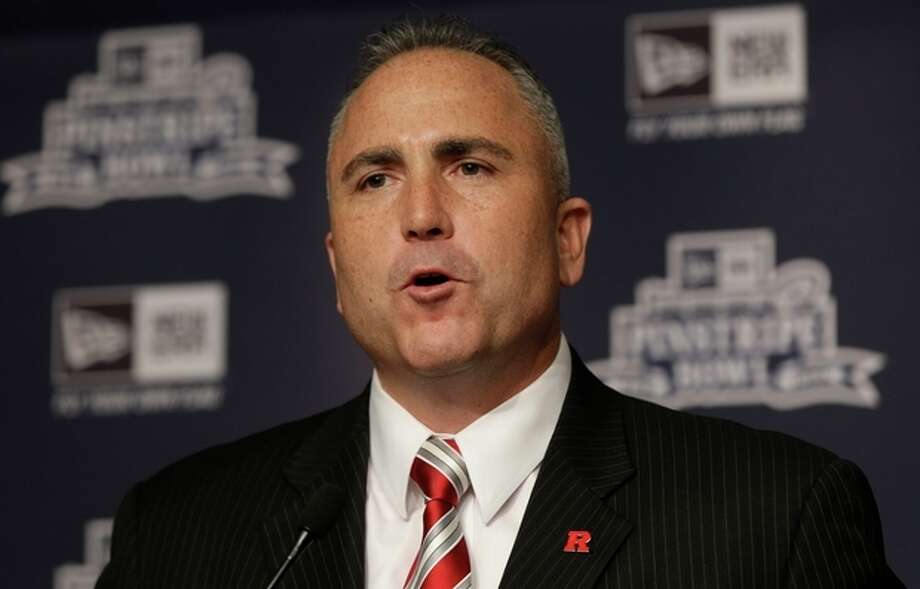 Rutgers coach Kyle Flood speaks during an NCAA college football news conference in New York, Tuesday, Dec. 10, 2013. Rutgers and Notre Dame will face off at the Pinstripe Bowl at Yankee Stadium on Saturday, Dec. 28, 2013. (AP Photo/Seth Wenig) / AP