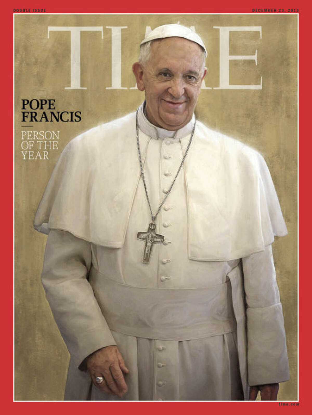 Pope Francis, Time magazine's 2013 Person of the Year, is seen an undated photo of the magazine cover provided by Time, Wednesday, Dec. 11, 2013. Time said the Catholic church?'s new leader has changed the perception of his organization in an extraordinary way in a short time. (AP Photo/