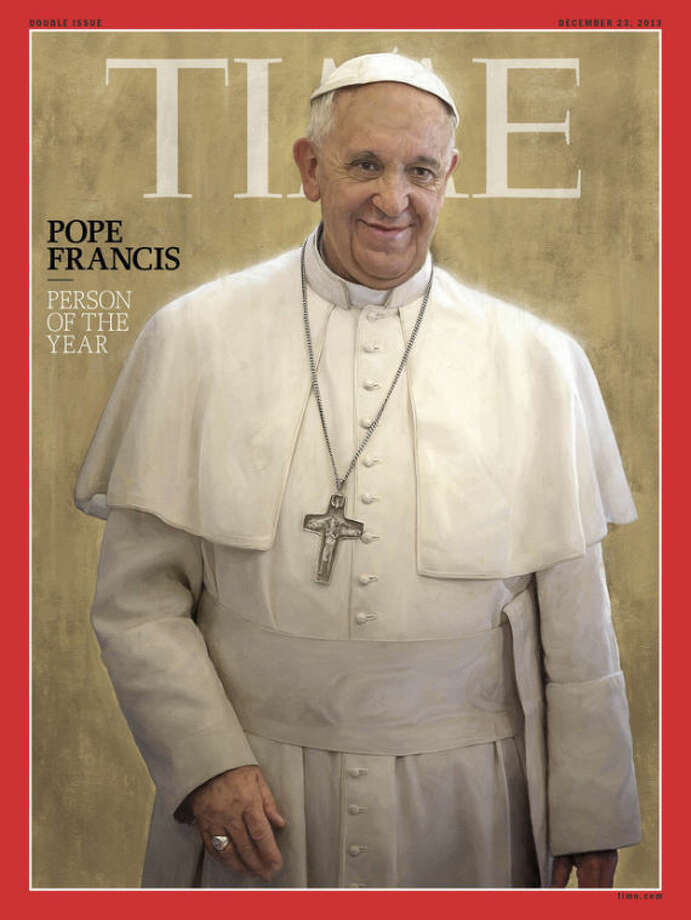 Pope Francis, Time magazine's 2013 Person of the Year, is seen an undated photo of the magazine cover provided by Time, Wednesday, Dec. 11, 2013. Time said the Catholic church's new leader has changed the perception of his organization in an extraordinary way in a short time. (AP Photo/