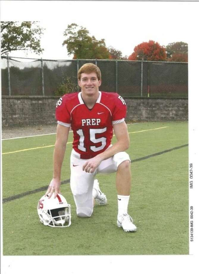 Contributed photoFairfield Prep wide receiver John DelliSanti is a Wilton resident who is among the players trying to deliver the Jesuits' first state championship in 25 years. Prep faces Southington in the title tilt.