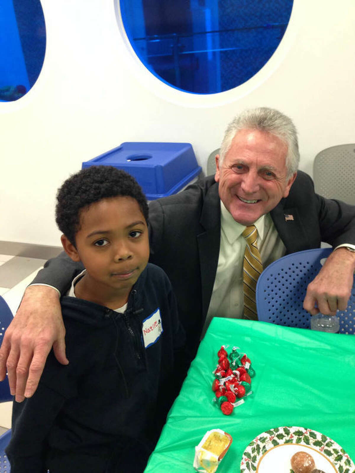 Mayor Rilling with his new friend.