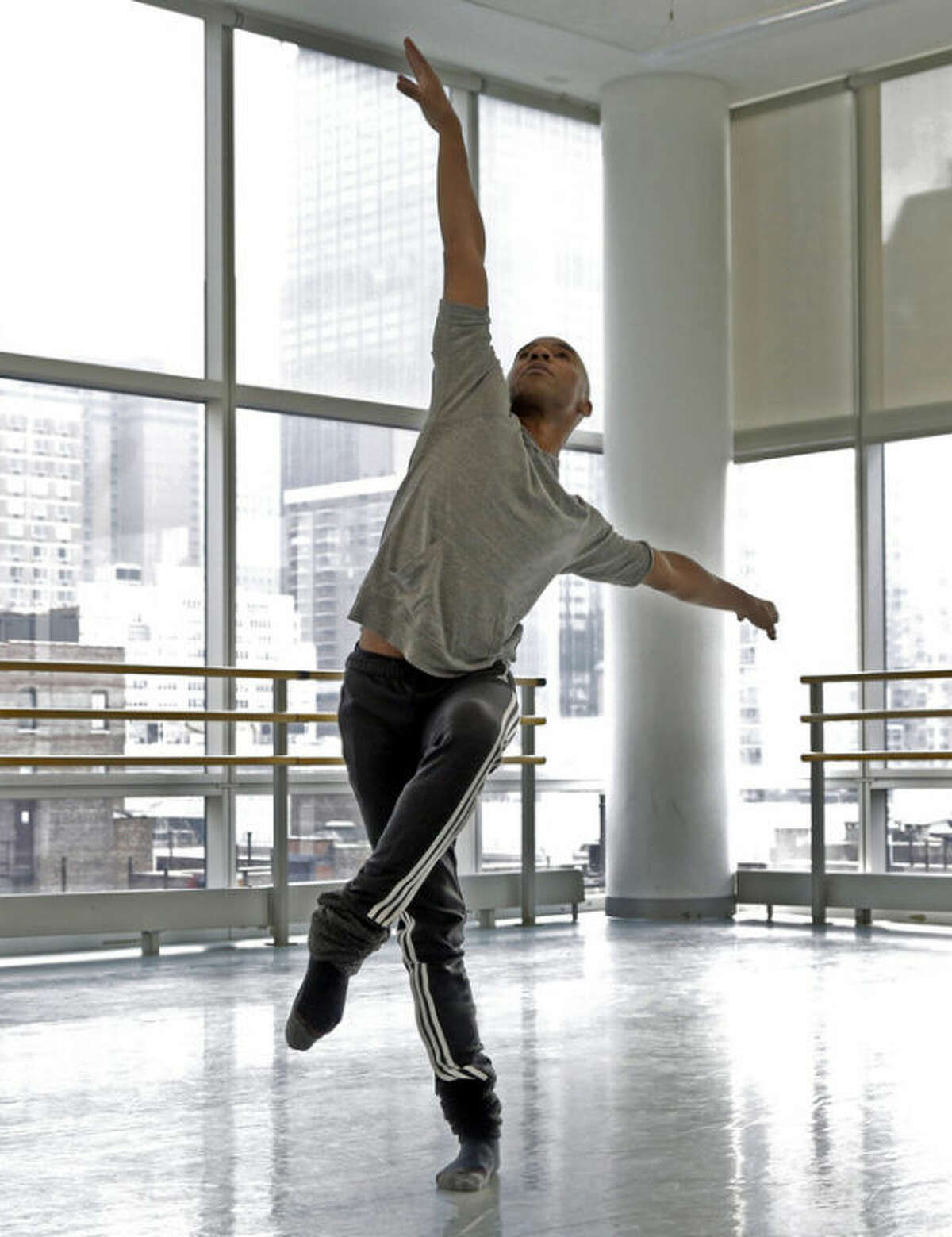 AP Photo/Richard Drew In this Monday, Dec. 2, photo, Matthew Rushing, a veteran star of the Alvin Ailey Dance Theater, rehearses at the company's headquarters, in New York. When Rushing was a young boy growing up in Inglewood, Calif., his mother was concerned he might fall prey to the gang violence that plagued the city. So she signed him up for an afterschool arts program.