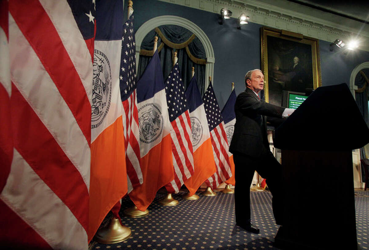 FILE - In this May 6, 2011, file photo New York Mayor Michael Bloomberg unveiled what he called a