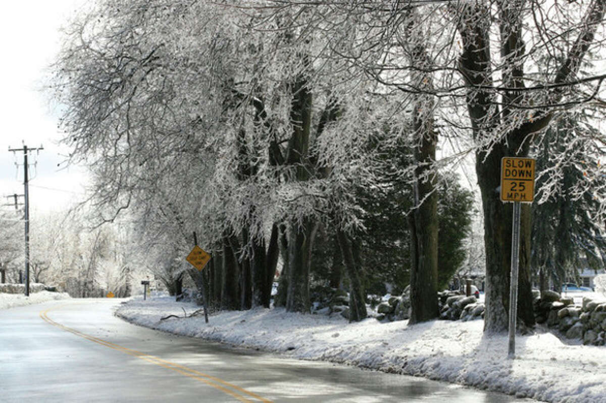 Hour photo / Chris Palermo. Ice shrouds the tree branches along Musket Ridge Road in Norwalk Sunday morning following Saturdays storm and frigid temperatures.