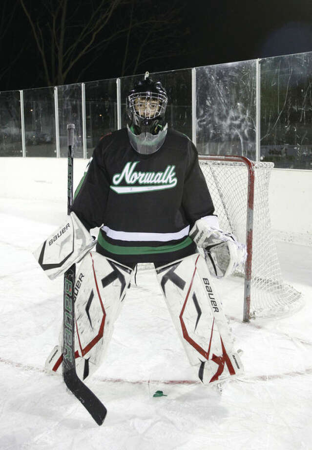 Hour photo/Danielle CallowayGoalie Anthony Chiaramonte of the Norwalk-McMahon co-op hockey team earned All-State recognition last winter as the last line of defense on a struggling team. Prospects are brighter as the coming season approaches and Chiaramonte is one of the biggest reasons.