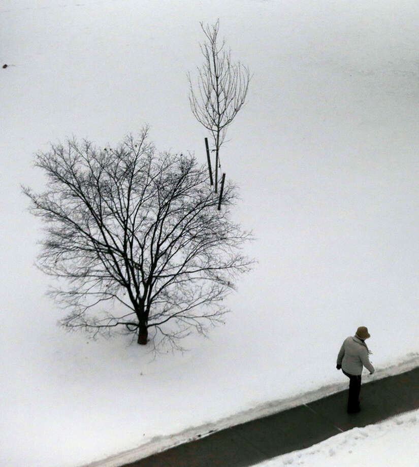 A person walks by a snow covered area outside of the Somerset County Superior Court, Tuesday, Dec. 17, 2013, in Somerville, N.J. A mix of snow and rain covered the northern New Jersey region with a storm that moved in early in the day. (AP Photo/Julio Cortez) / AP