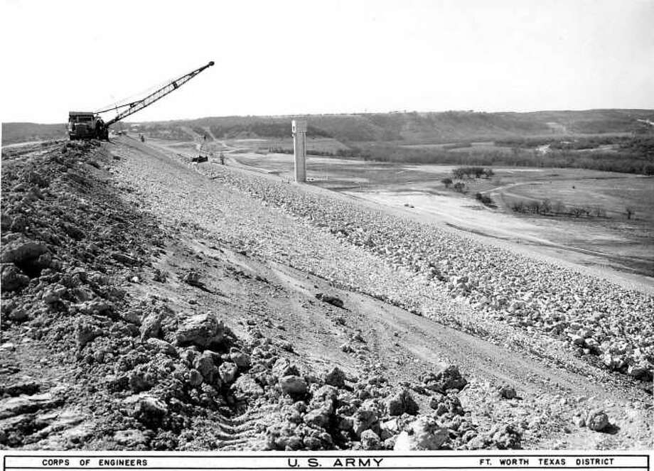 Canyon Lake was yet-to-be filled in this March 1964 photo, which was taken atop the dam. Photo: U.S. Army Corps Of Engineers