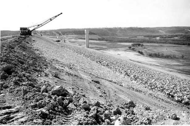 Canyon Lake was yet-to-be filled in this March 1964 photo, which was taken atop the dam.
