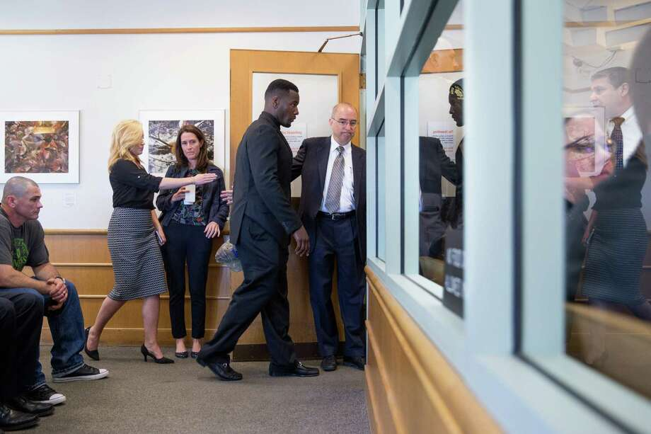 Former Seahawks Derrick Coleman enters the courtroom for his arraignment on felony hit-and-run and vehicular assault charges, in Seattle on Thursday, June 16, 2016. Photo: GRANT HINDSLEY, SEATTLEPI.COM / SEATTLEPI.COM