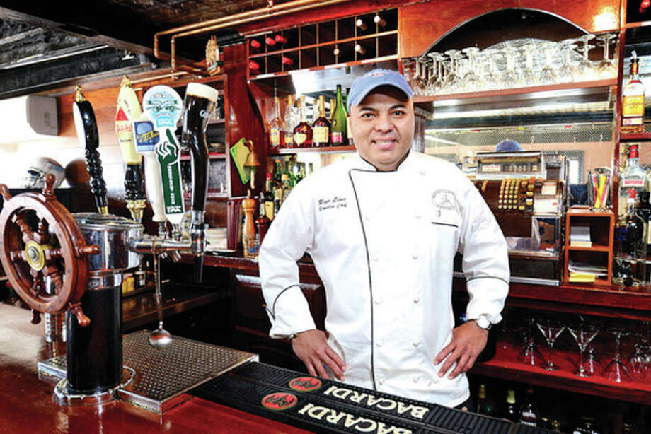 Hour photo / Erik Trautmann Rigo Lino, owner and executive chef of the Mansion Clam House at 541 Riverside Ave. in Westport. / (C)2013, The Hour Newspapers, all rights reserved